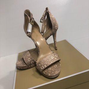 Michael Kors Hutton Sandal heels. Rose Gold
